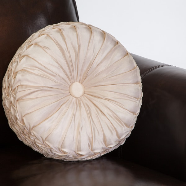 Christopher Knight Home 14 Inch Round Ivory Sateen Pillow