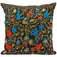 Mina Victory Lifestyle Flowers Brown Throw Pillow (20-inch x 20-inch) by Nourison