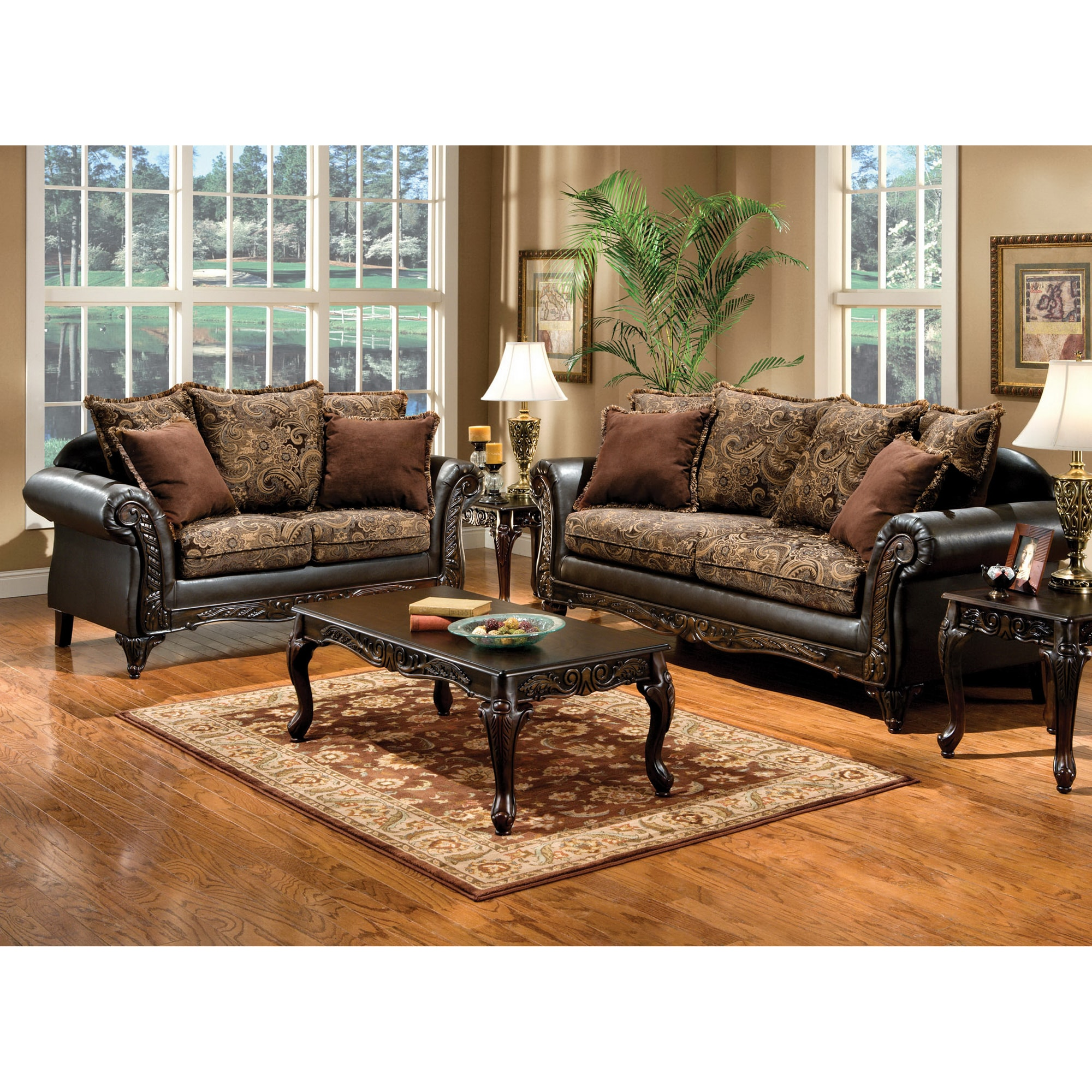 Floral Living Room Sets: Furniture Of America Ruthy Traditional Dark Brown Floral