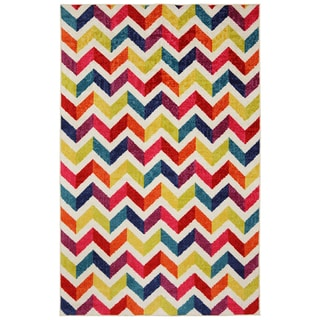 Off Set Chevron Multi Rug 8 X 10
