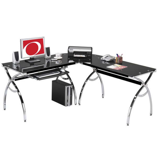 Smoked Tempered ...L Shaped Computer Desk For Two