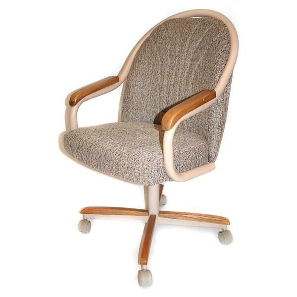 White Metal Roller Swivel Kitchen Chair