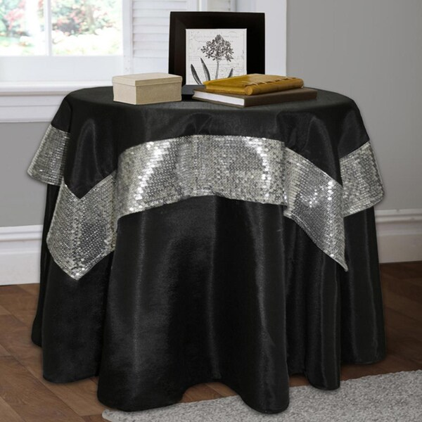 Lush Decor Night Sky 2 Piece Black Silver Table Cloth Set