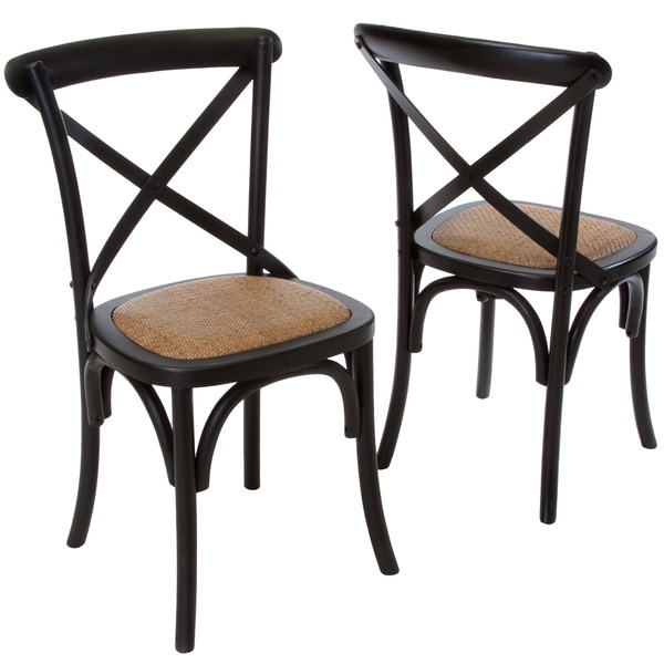 christopher knight home smith black cross back dining chairs set of 2 15316144 overstock. Black Bedroom Furniture Sets. Home Design Ideas