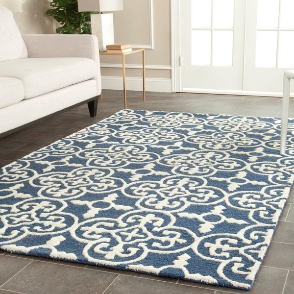 Safavieh Handmade Moroccan Cambridge Navy Wool Rug 9 X 12