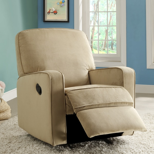 Bentley Camel Brown Fabric Modern Nursery Swivel Glider