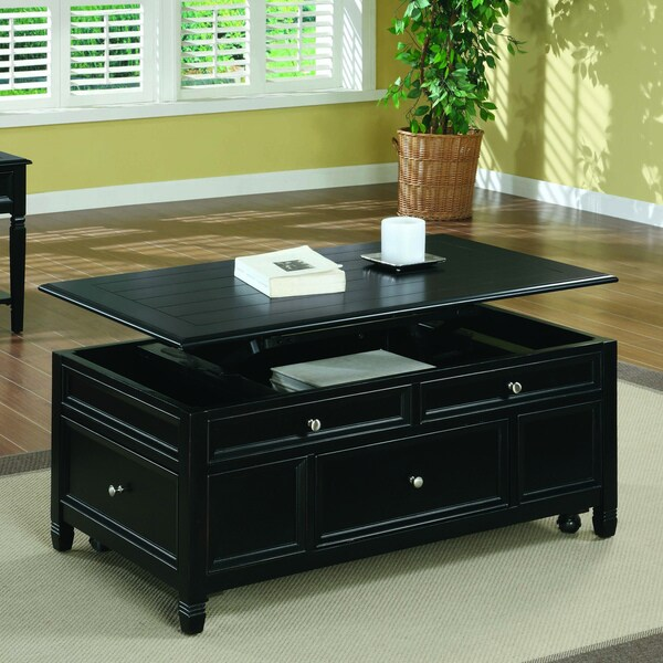 Lift Table Coffee Table: Black Solid Wood Lift Top Storage Cocktail Table