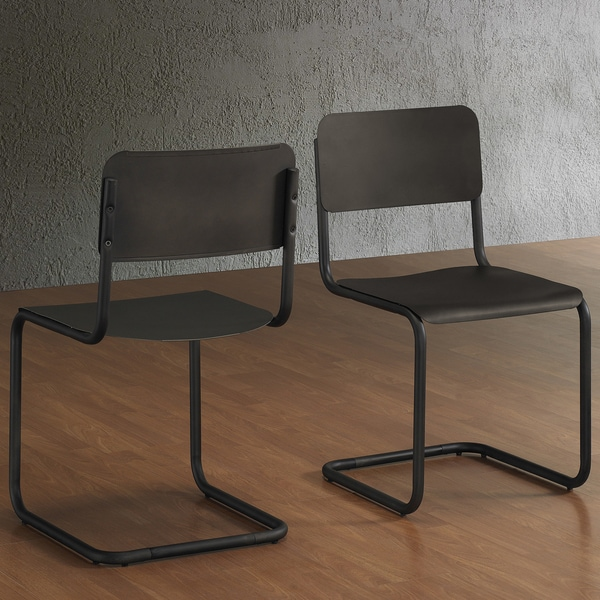 Emerson Metal Dark Brown Retro Dining Chairs Set Of 2