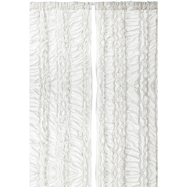 Gray Petite Ruffle 96 Inch Curtain Panel 15323351