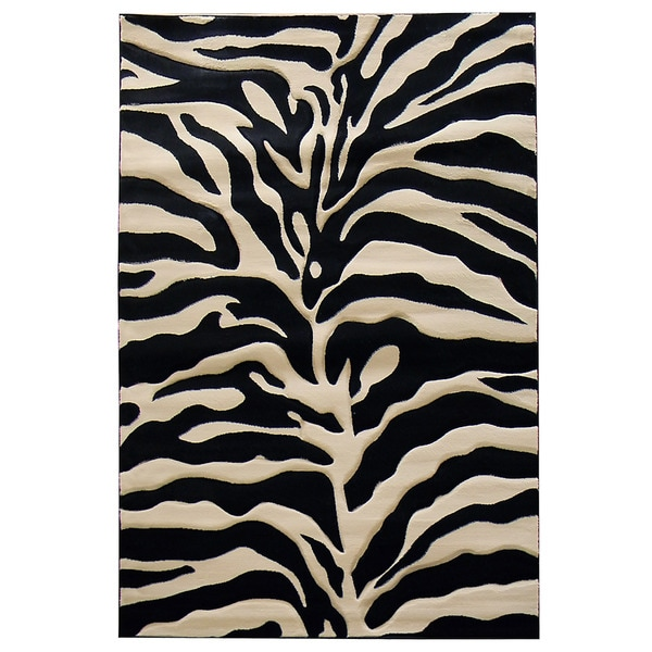 Zebra Print Black Beige Area Rug 5 X 7 15324637