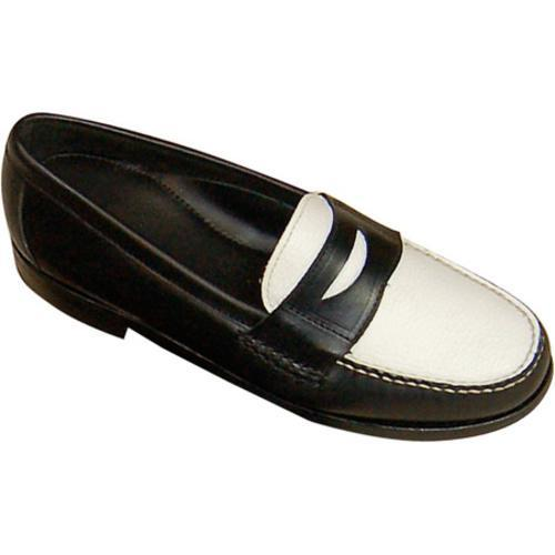 Men S David Spencer Shag Penny Loafer Black Waxy White