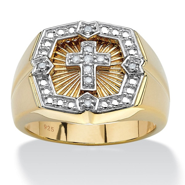 Men's .10 TCW Round Diamond 18k Gold over Sterling Silver Cross Ring