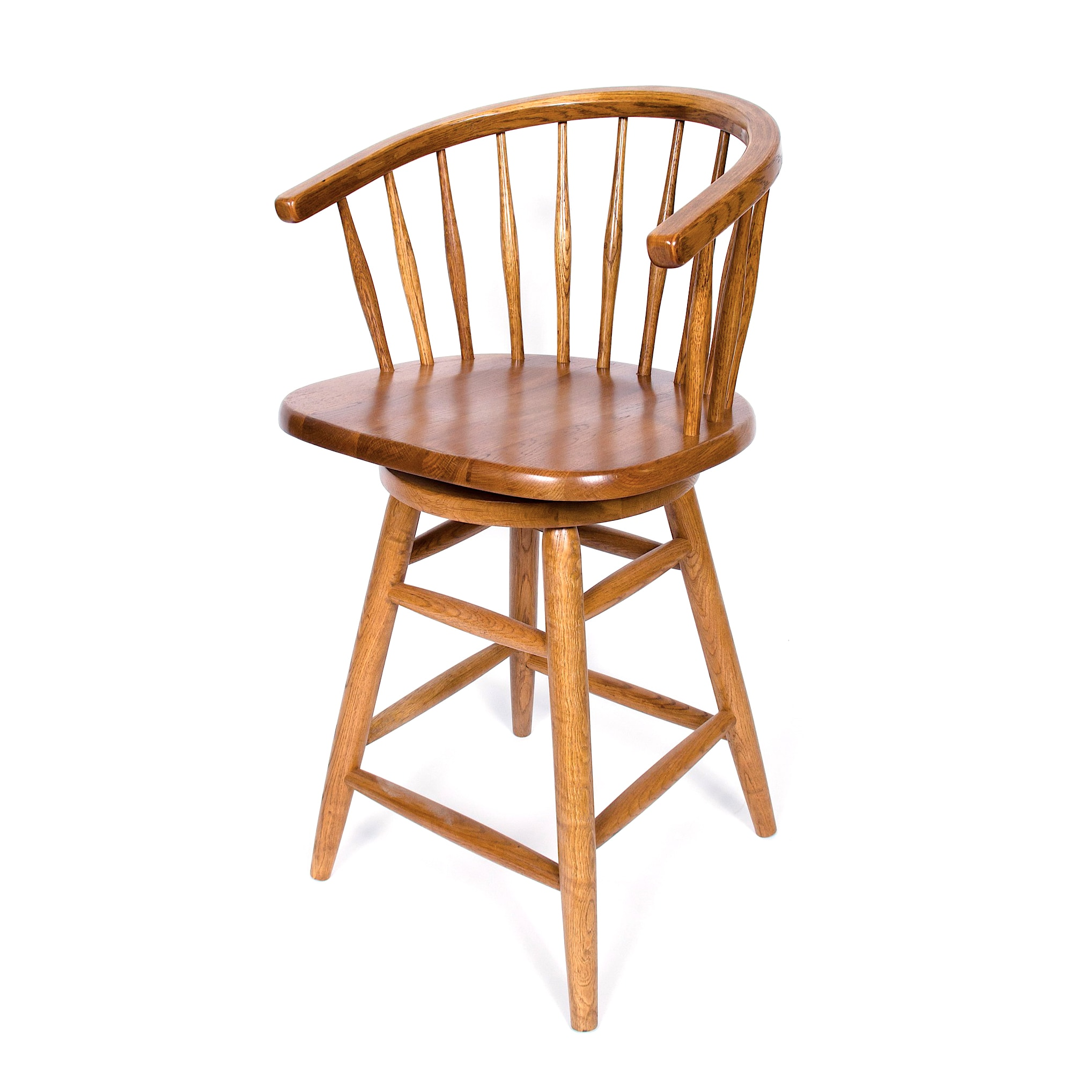 Solid Medium Oak Hoop Back Swivel 30-inch Bar Stool