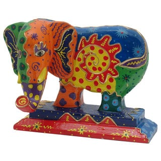 Hand Carved Multi Colored Wooden Elephant Statue