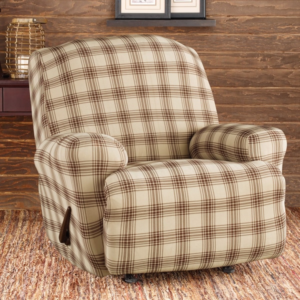 Stretch Belmont Ivory Plaid Recliner Slipcover 15327395