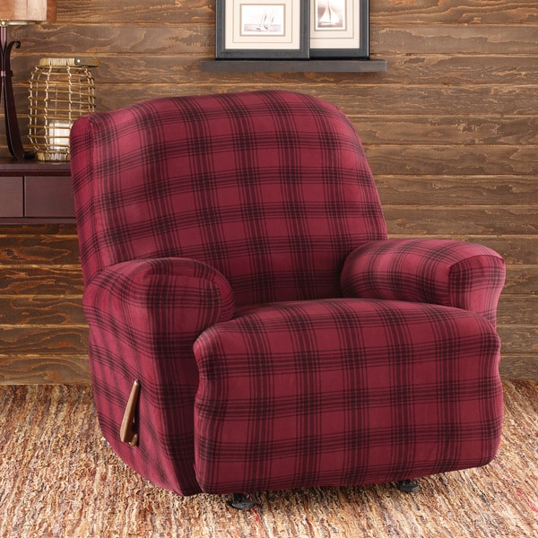 Sure Fit Stretch Belmont Burgundy Plaid Recliner Slipcover