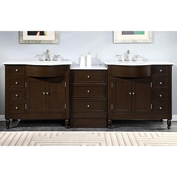 90 Inch Double Sink Bathroom Vanity: Silkroad Exclusive 95-inch Carrara White Marble Top