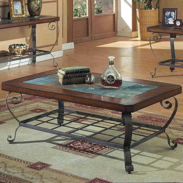 Metal Coffee Table With Slate Tiles: Dark Oak/ Metal Sofa Table With Slate Inserts