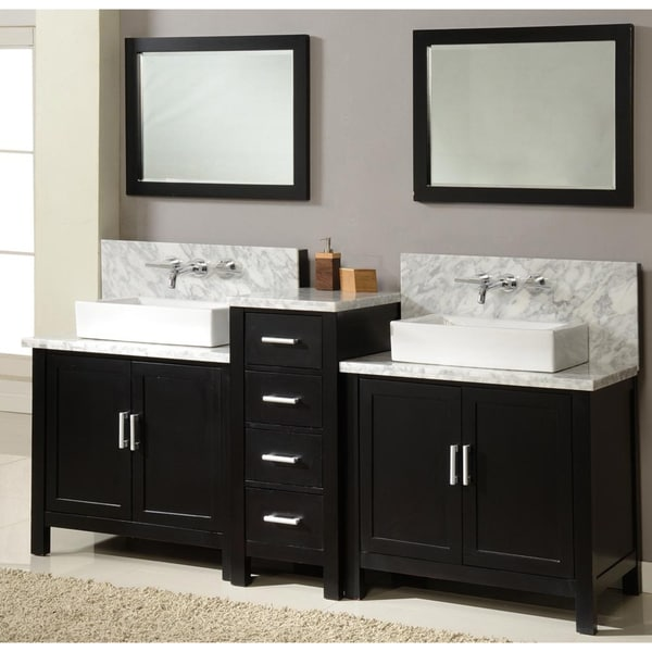 Direct Vanity 84 Inch Horizon Ebony Double Vanity Sink