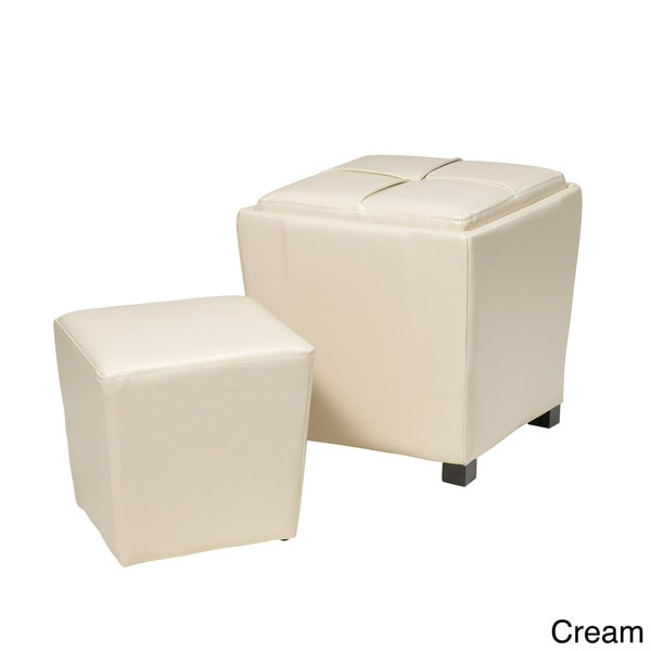 Metro Faux Leather 2 Piece Ottoman Set 15342195