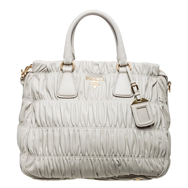 f7ffb83162fc98 Prada Gaufre Off-white Ruched Nappa Leather Zip-top Tote - xskoshop4