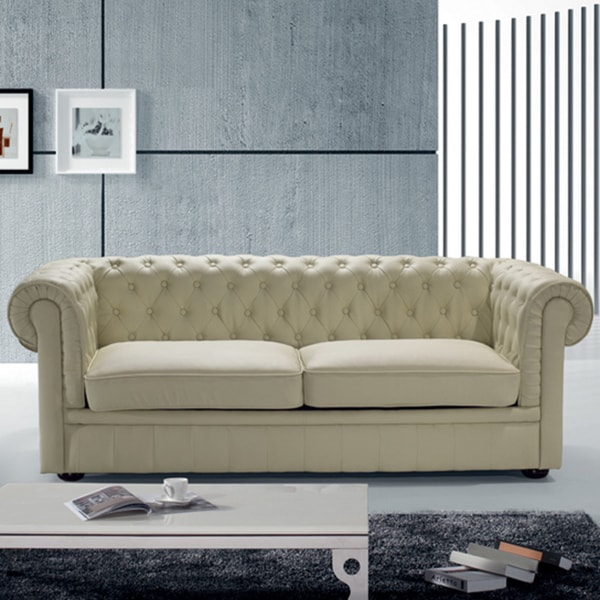 Chesterfield Beige Leather Classic Loveseat 15342839