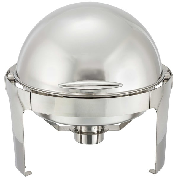 Winco 6 Quart Madison Stainless Steel Round Roll Top