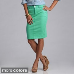 Tabeez Women S Colored Denim 5 Pocket Pencil Skirt