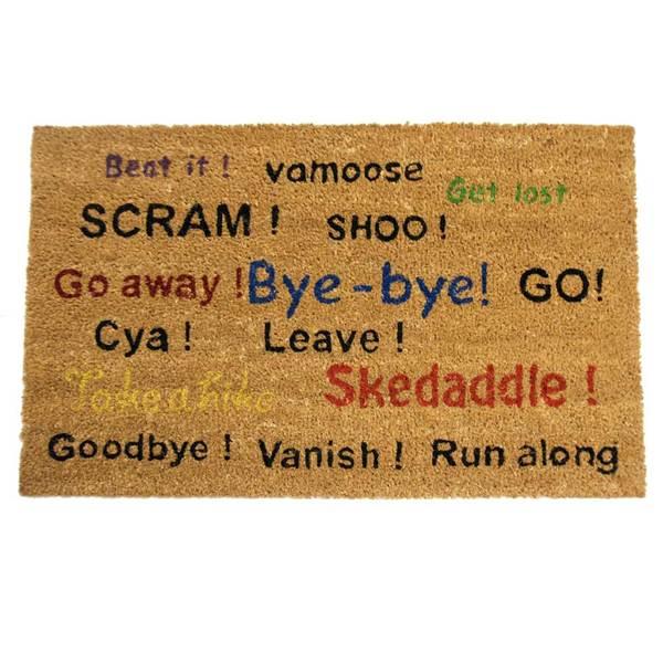 Rubber Cal Go Away Scram Leave Humorous Door Mat 18 X