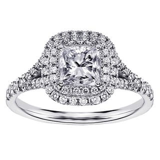 14k White Gold 1 1/2 Ct TW Micro Pave Set Princess Cut ...