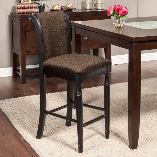 Tribecca Home Tufted Button Back Peat Microfiber Side: HomePop French Roast Chenille Fabric Upholstered Barstool