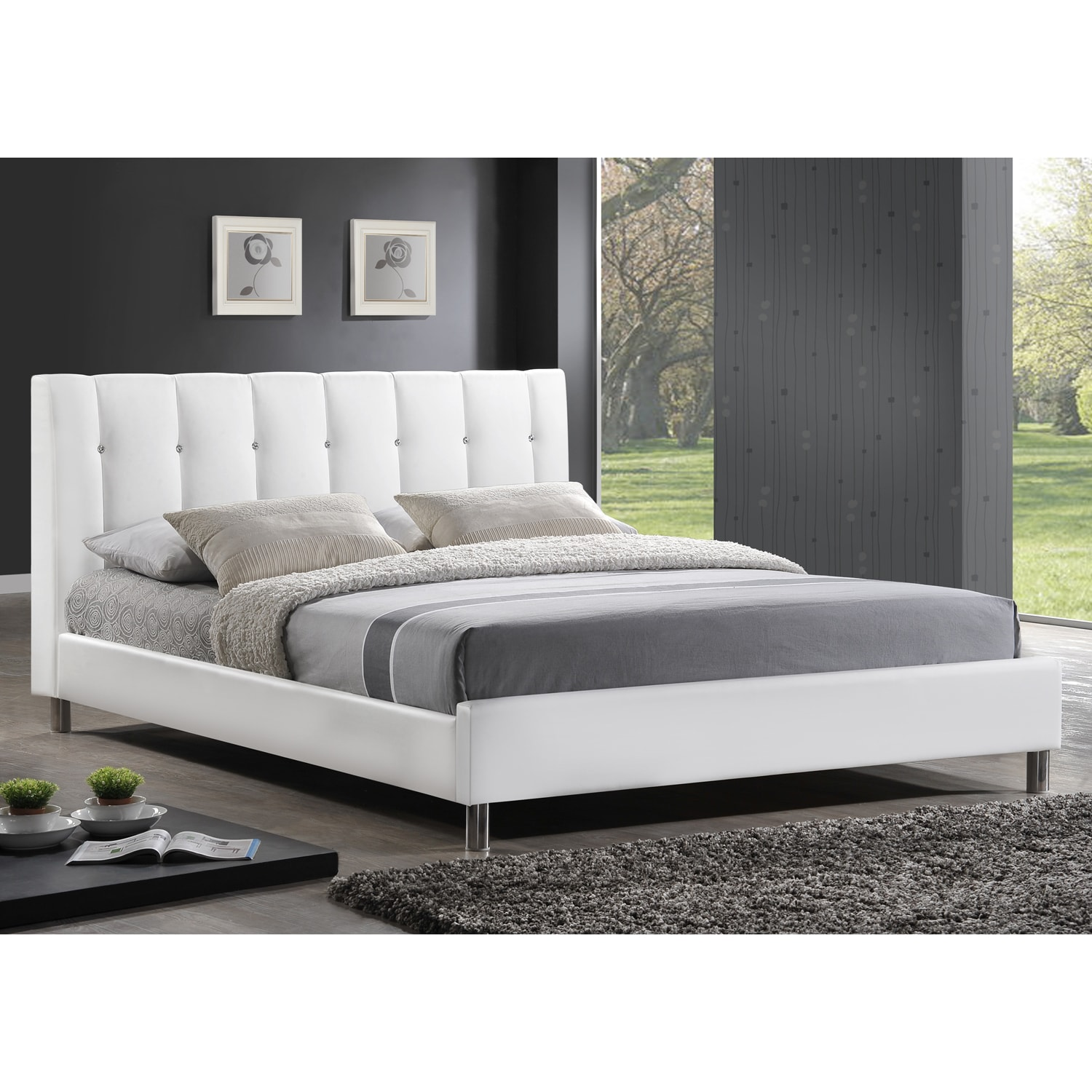 baxton studio vino modern upholstered full size bed headboard overstock shopping great. Black Bedroom Furniture Sets. Home Design Ideas