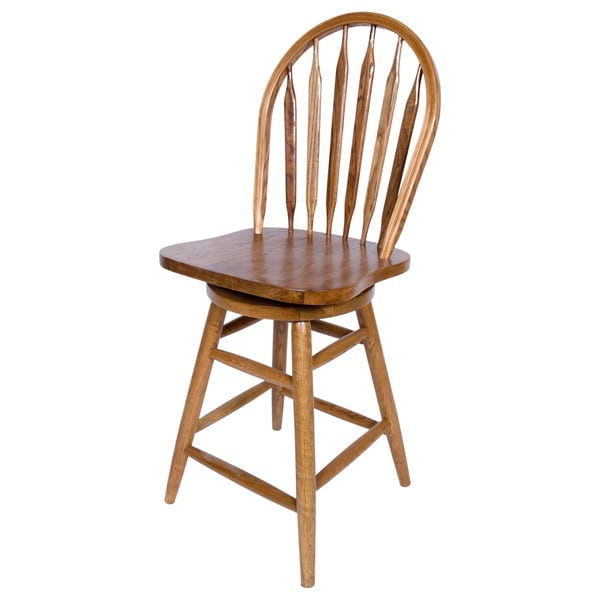 Counter Stools Overstock: Solid Medium Oak Windsor Back Swivel Bar Height Bar Stool