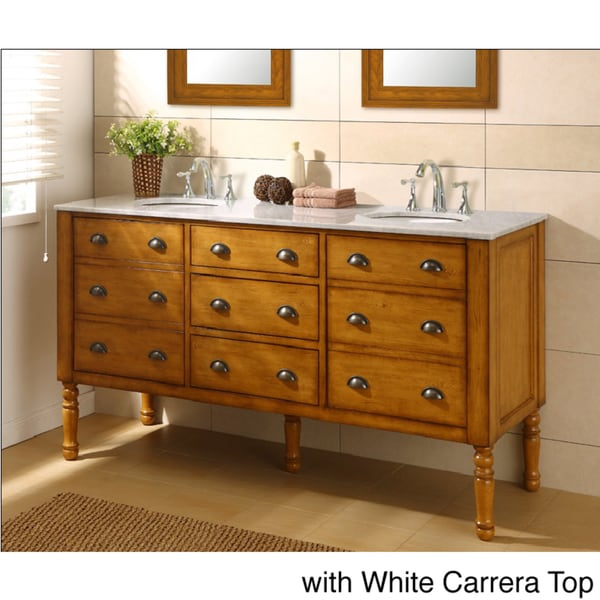 Direct Vanity 70-inch Harvest Honey Oak Double Vanity Sink