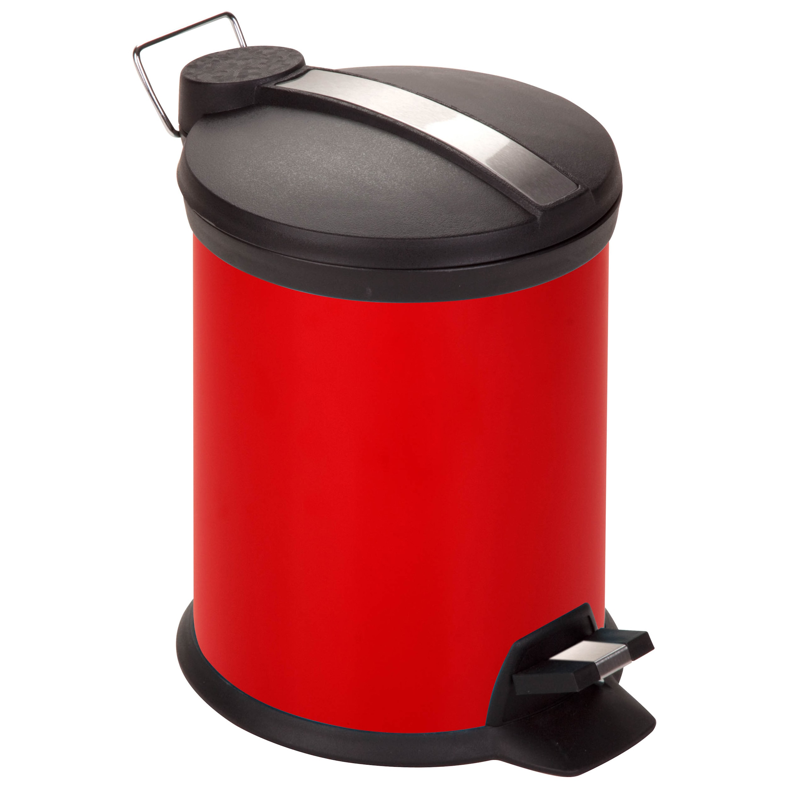 New Kitchen Trash Can Red 3 Liter Steel Step Trash Can on ...
