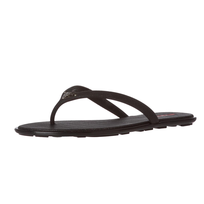 43c11602317ec6 Prada Black Saffiano Rubber Thong Sandals ™ Shopping on PopScreen