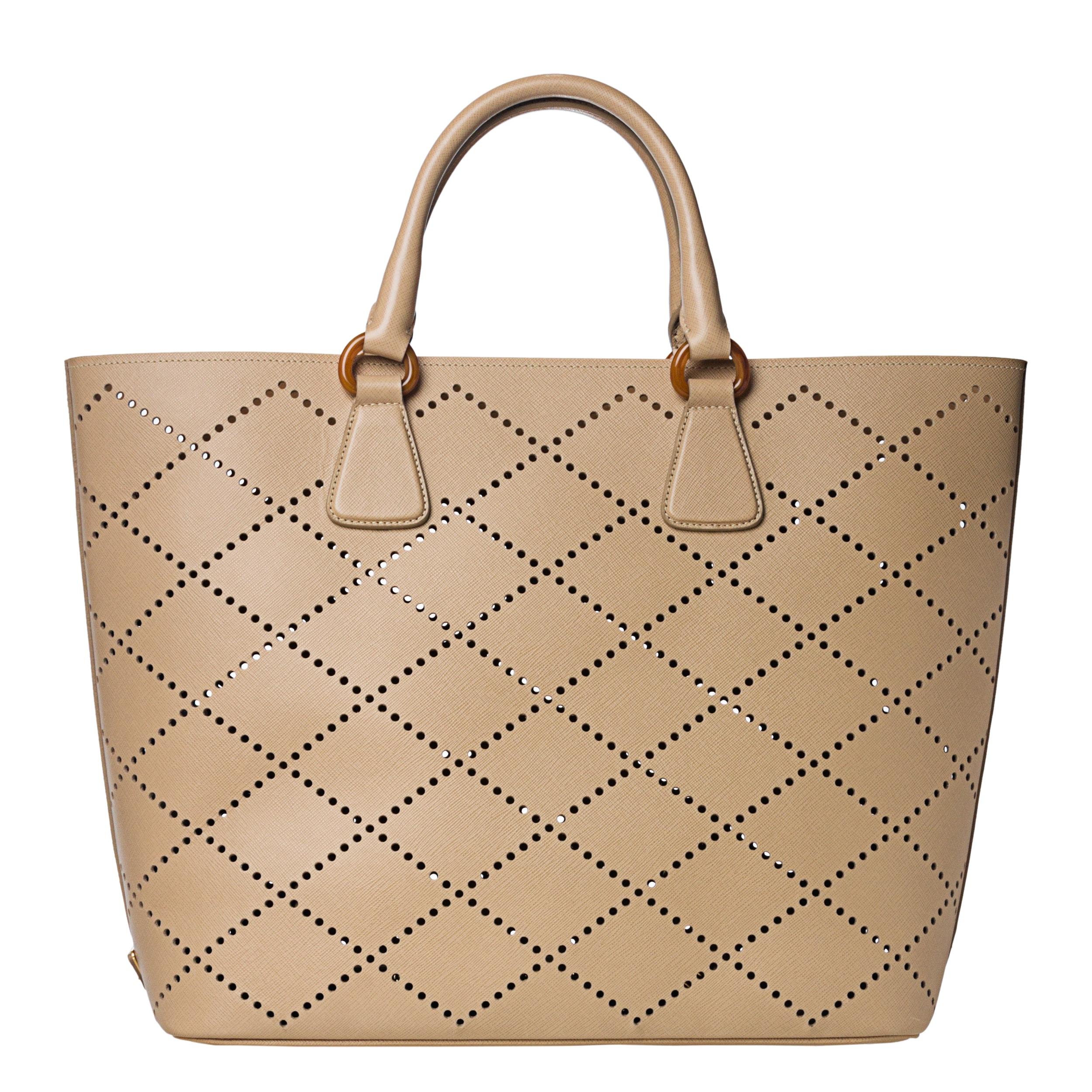 1090a7b6e7c3 Prada Large Beige Perforated Saffiano Leather Tote Bag - 14518313 .