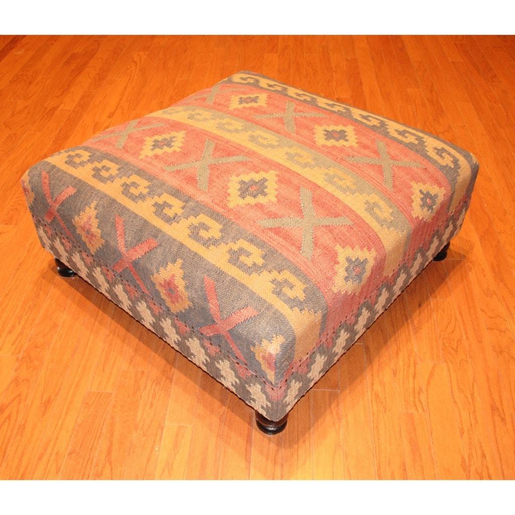 Handmade Kilim Upholstered Storage Footstool Ottoman