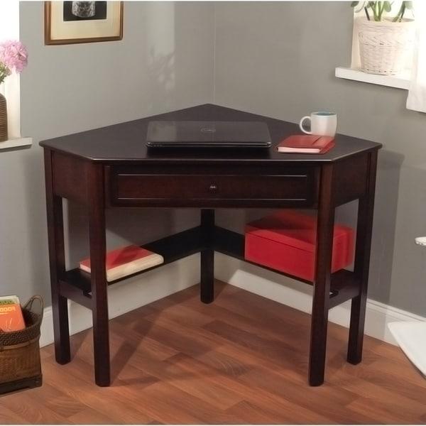 Simple Living Espresso Corner Writing Desk Furniture Student Table Workstation | eBay