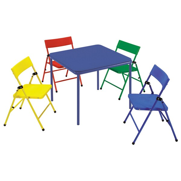 Cosco Kid S 5 Piece Colored Folding Chair And Table Set