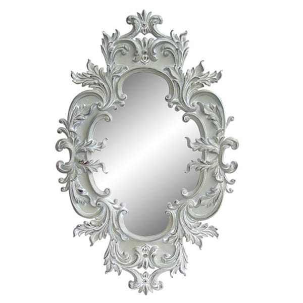 Antique White Traditional Oval 60 Inch Wall Mirror
