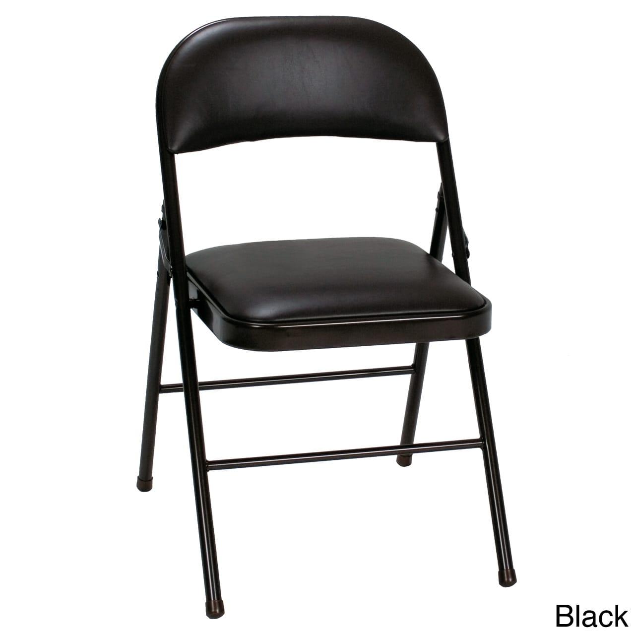 Fabulous Cosco Vinyl Folding Chair 4 Pack Antique Linen Blackuse Of Inzonedesignstudio Interior Chair Design Inzonedesignstudiocom