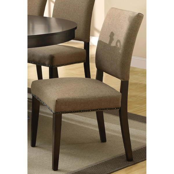 Tribecca Home Tufted Button Back Peat Microfiber Side: Aloes Nailhead Trim Dining Chairs (Set Of 2)