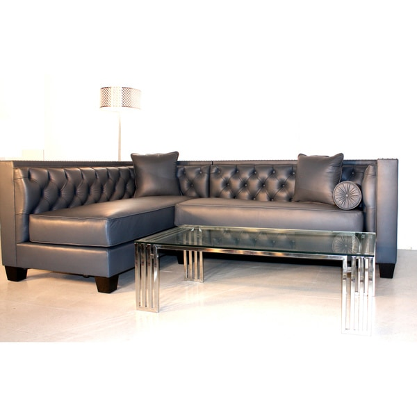 Decenni Custom Furniture 'Tobias' Monte Carlo Slate Leather Sectional