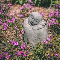 Volcanic Stone Resting Jizo Statuette, Handmade in Indonesia