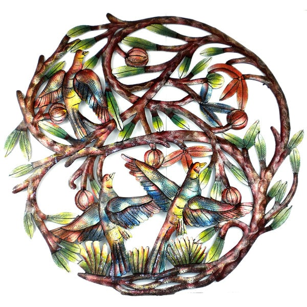 Hand-painted 'Tree of Life' 24-inch Recycled Metal Wall ...