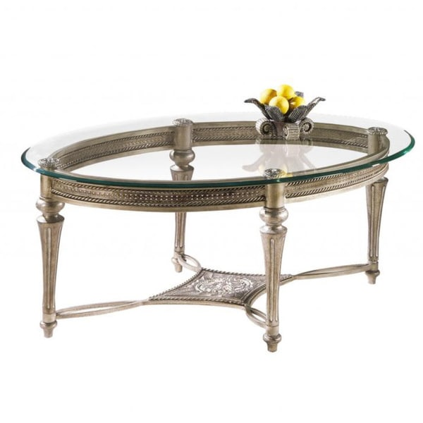 Ebay Iron Glass Coffee Table: Wrought Iron Pewter Glass Top Oval Living Room Side Accent
