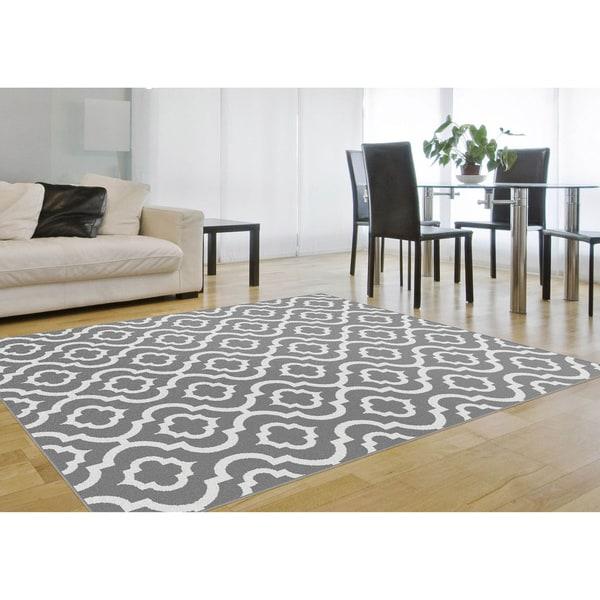 Alise Metropolis Moroccan Tile Grey White Area Rug 5 3 X