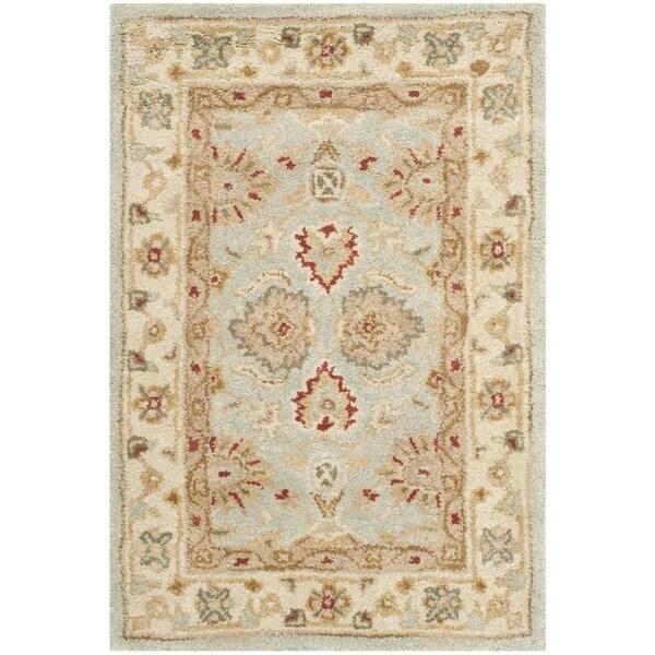 Safavieh Handmade Antiquity Blue Grey Beige Wool Rug 2