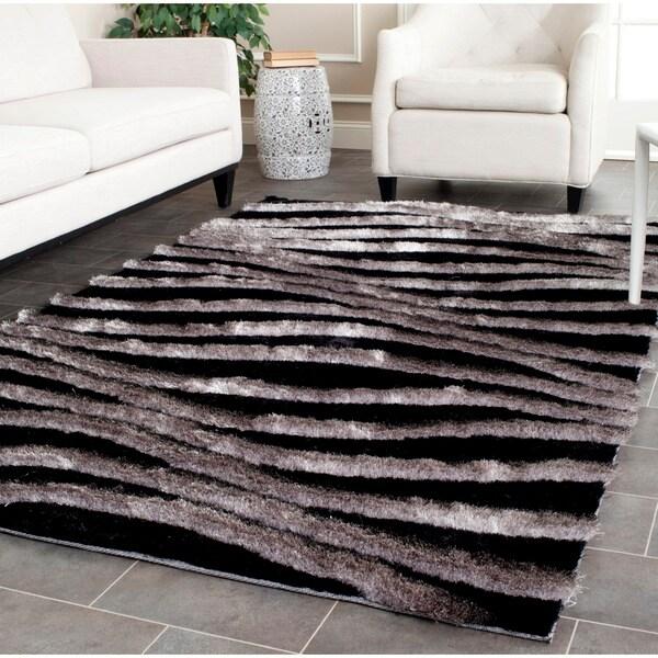 Black And Grey Rugs: Safavieh Handmade 3D Shag Black/ Grey Rug (8' X 10